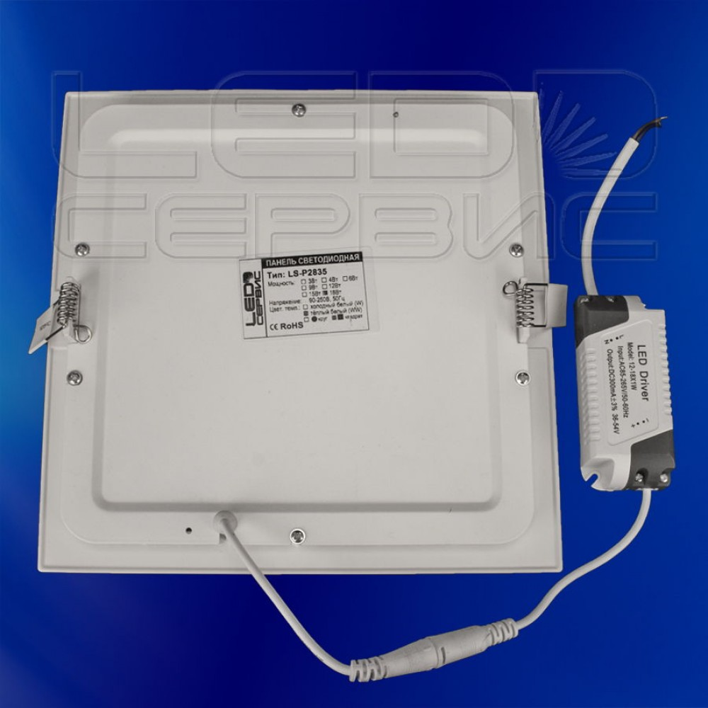 Светильник Slim LS-2835 квадратный 18Вт холодный свет