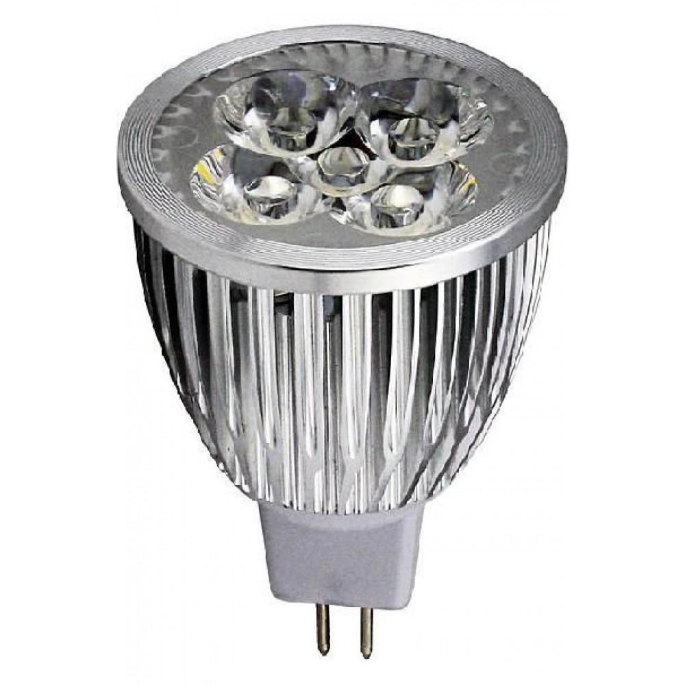 Лампа светодиодная LVU MR16 5W 3000K 12V, алюм.корп.